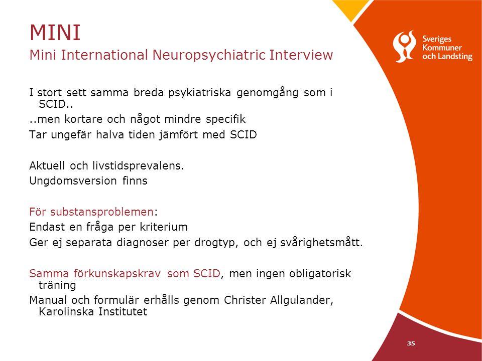 MINI Mini International Neuropsychiatric Interview