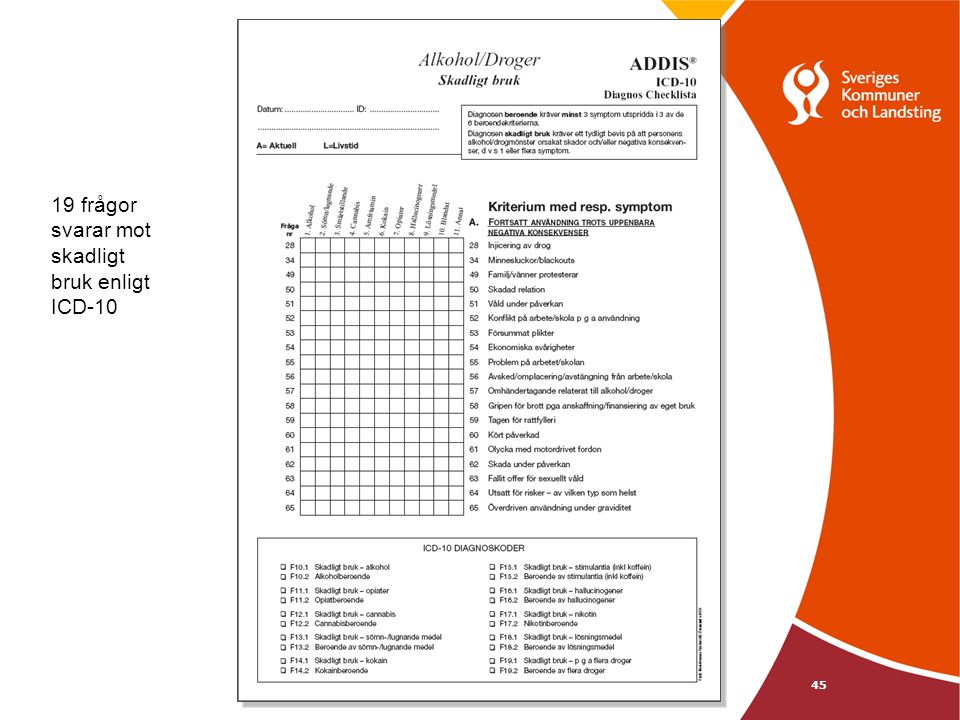 19 frågor svarar mot skadligt bruk enligt ICD-10