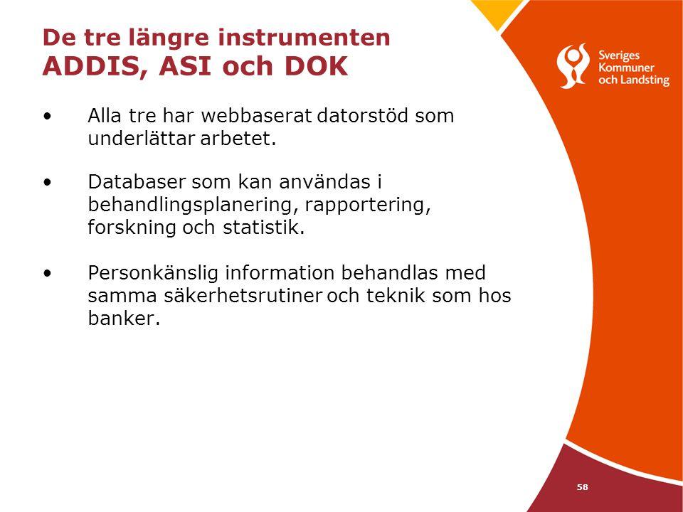 De tre längre instrumenten ADDIS, ASI och DOK