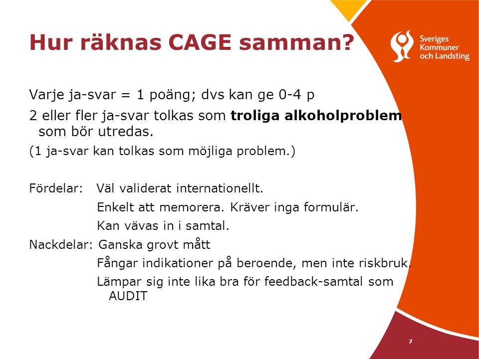 Hur räknas CAGE samman Varje ja-svar = 1 poäng; dvs kan ge 0-4 p