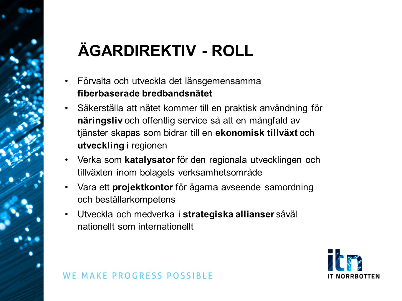 ÄGARDIREKTIV - ROLL Förvalta och utveckla det länsgemensamma fiberbaserade bredbandsnätet.