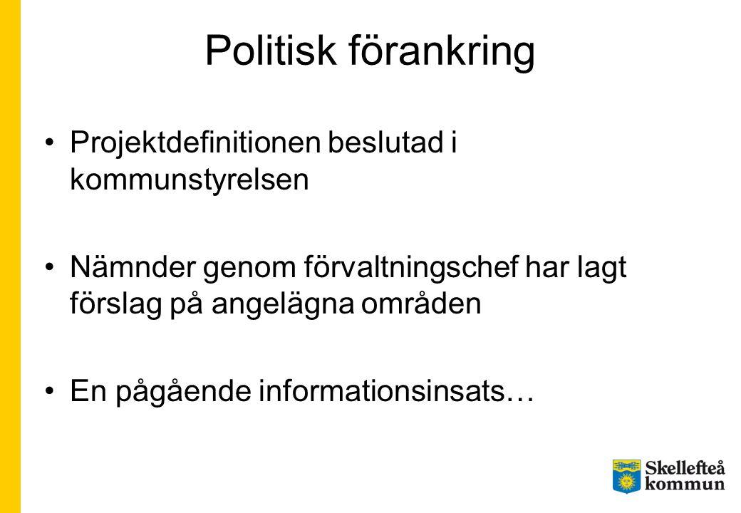 Politisk förankring Projektdefinitionen beslutad i kommunstyrelsen