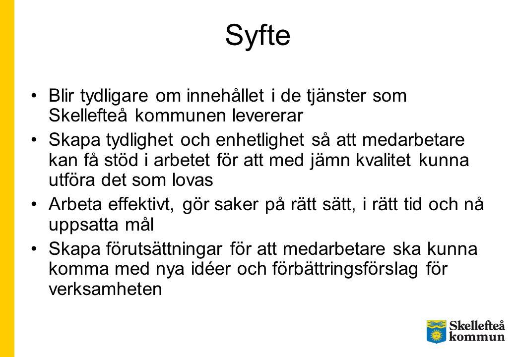 Syfte Blir tydligare om innehållet i de tjänster som Skellefteå kommunen levererar.