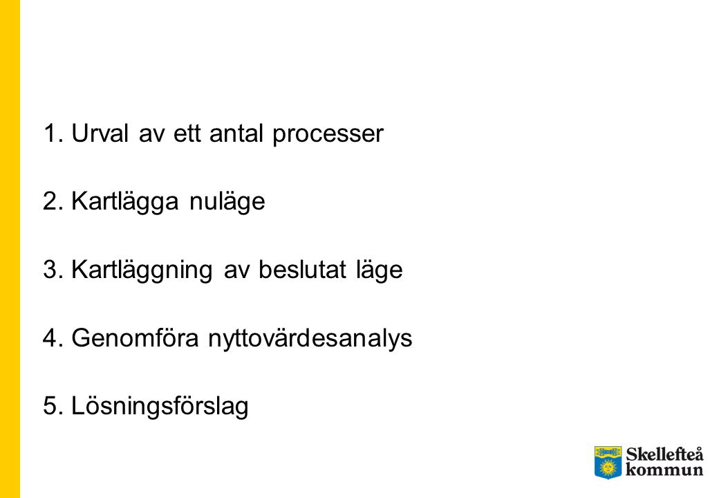 1. Urval av ett antal processer 2. Kartlägga nuläge