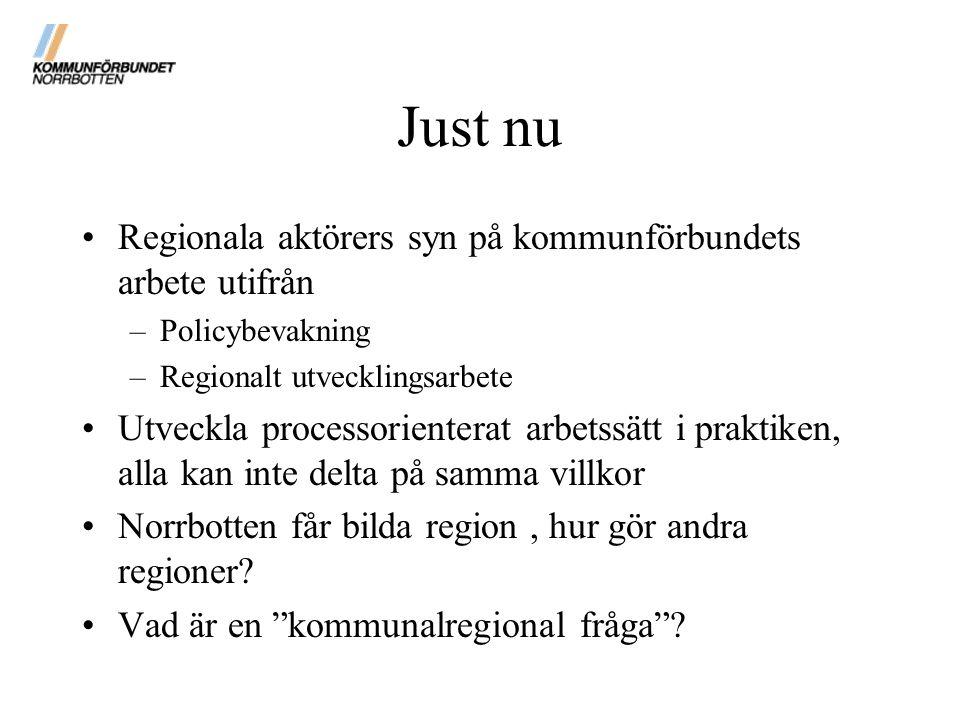 Just nu Regionala aktörers syn på kommunförbundets arbete utifrån