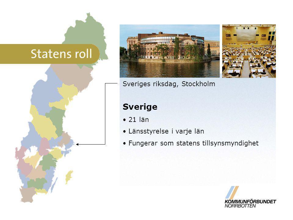 Sverige Sveriges riksdag, Stockholm 21 län Länsstyrelse i varje län