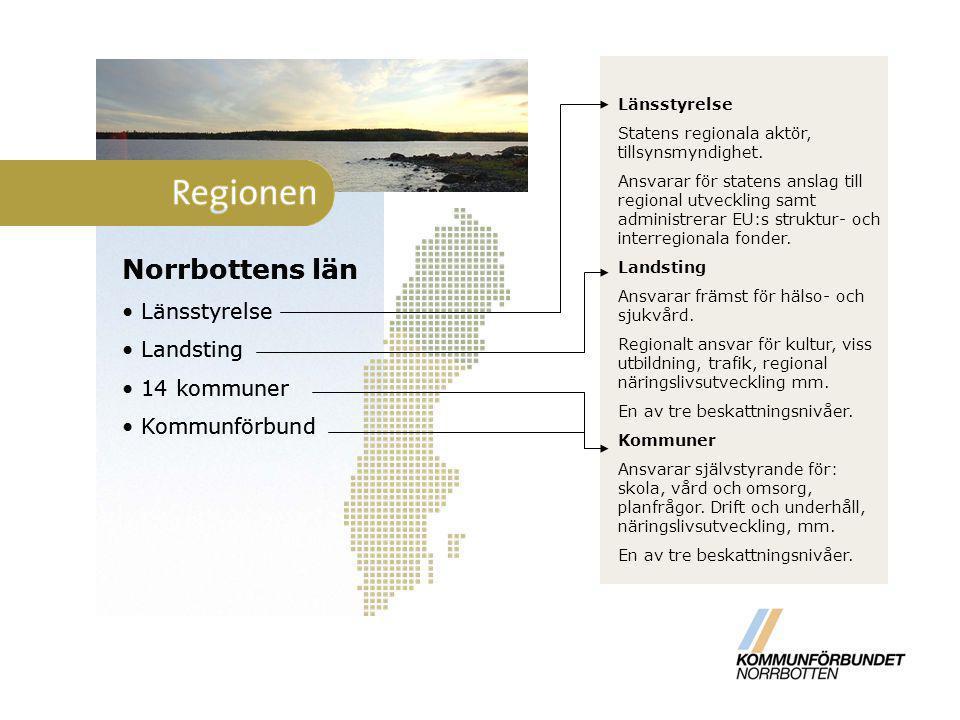 Norrbottens län Norrbottens län Länsstyrelse Landsting 14 kommuner