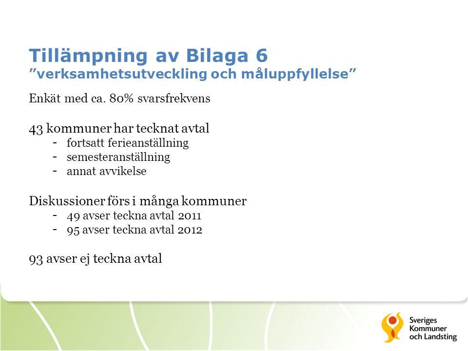 Tillämpning av Bilaga 6 verksamhetsutveckling och måluppfyllelse