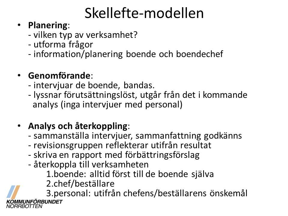 Skellefte-modellen Planering: - vilken typ av verksamhet - utforma frågor - information/planering boende och boendechef.