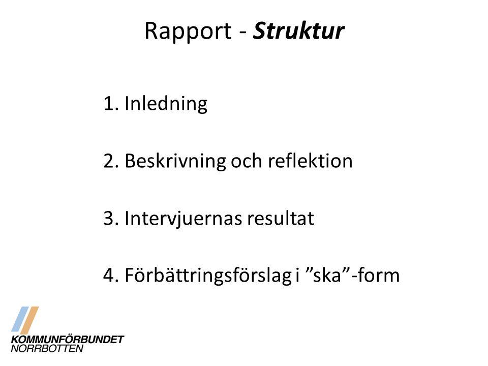 Rapport - Struktur 1. Inledning 2. Beskrivning och reflektion