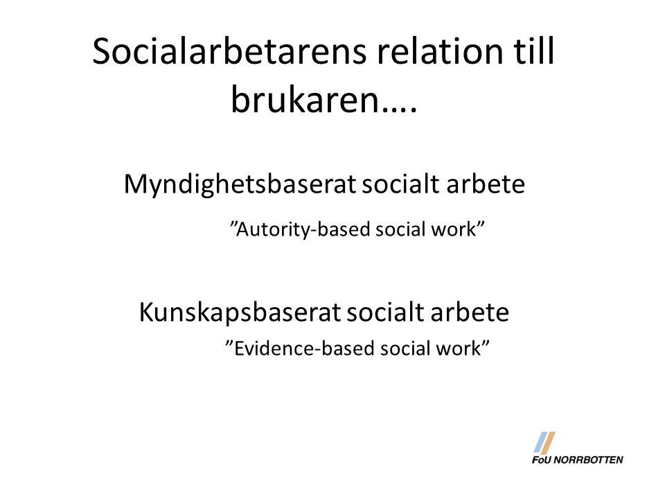 Socialarbetarens relation till brukaren….