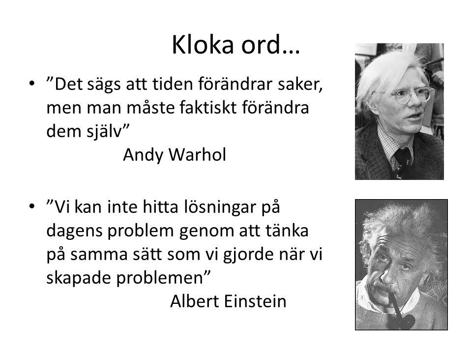 Kloka ord… Det sägs att tiden förändrar saker, men man måste faktiskt förändra dem själv Andy Warhol.