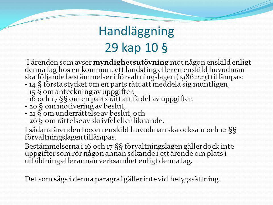 Handläggning 29 kap 10 §