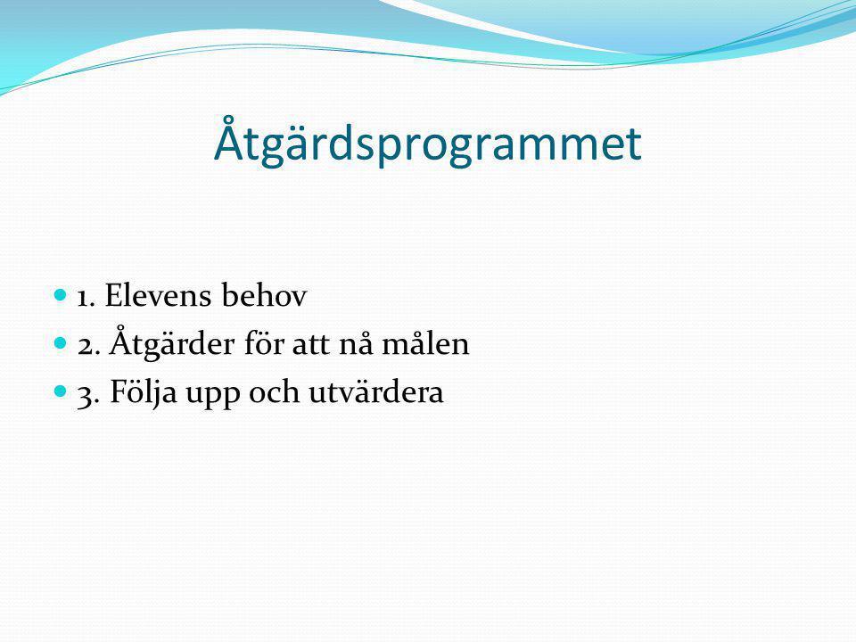Åtgärdsprogrammet 1. Elevens behov 2. Åtgärder för att nå målen