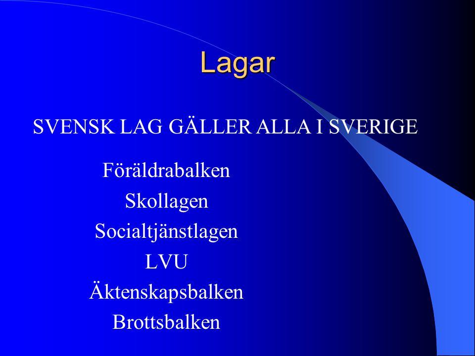 Lagar SVENSK LAG GÄLLER ALLA I SVERIGE Föräldrabalken Skollagen