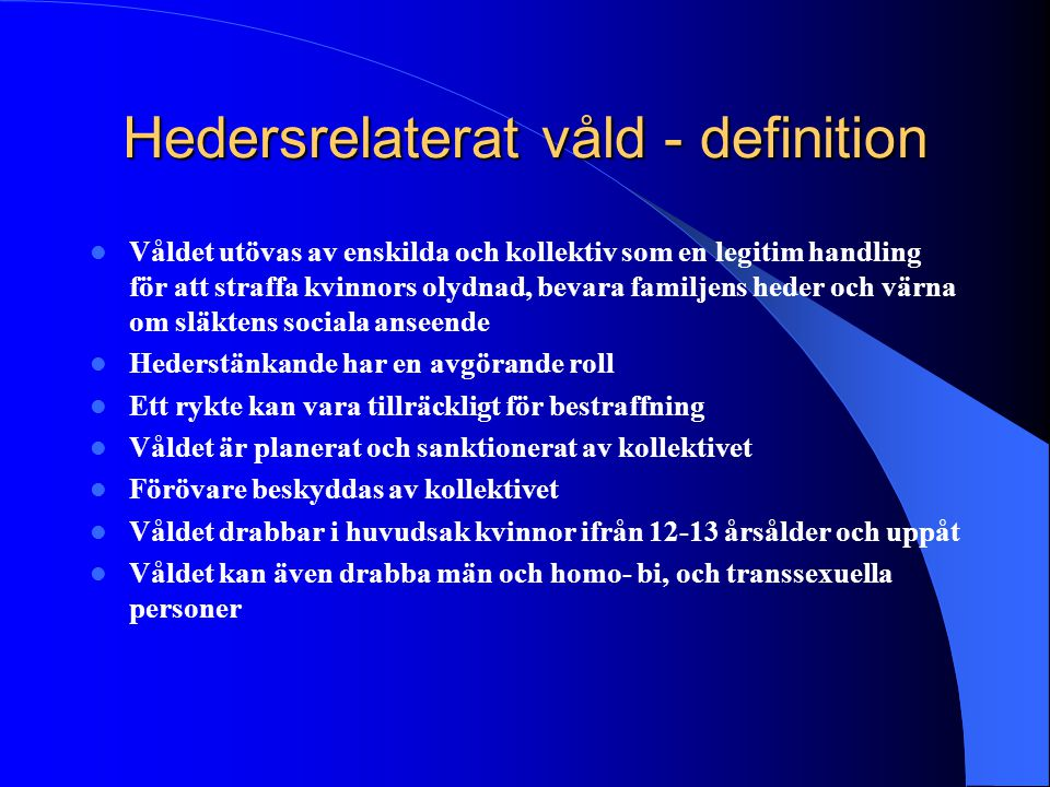 Hedersrelaterat våld - definition