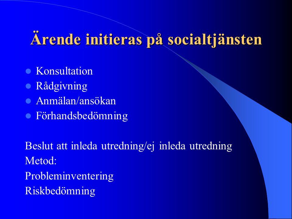 Ärende initieras på socialtjänsten