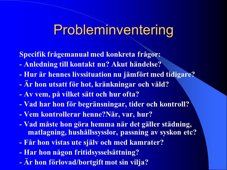 Probleminventering Specifik frågemanual med konkreta frågor: