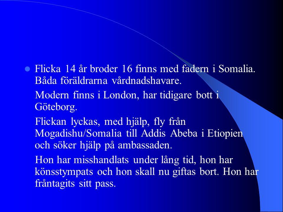 Flicka 14 år broder 16 finns med fadern i Somalia