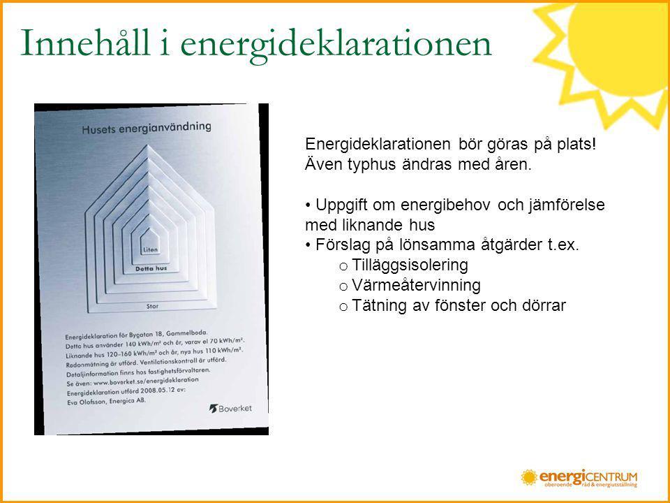 Innehåll i energideklarationen