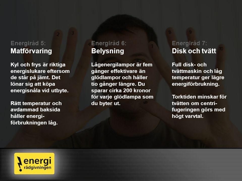 Matförvaring Belysning Disk och tvätt Energiråd 5: Energiråd 6: