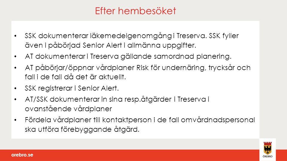 Efter hembesöket SSK dokumenterar läkemedelgenomgång i Treserva. SSK fyller även i påbörjad Senior Alert i allmänna uppgifter.