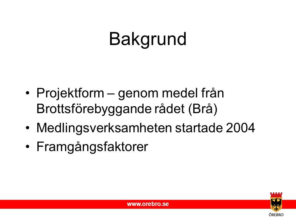Bakgrund Projektform – genom medel från Brottsförebyggande rådet (Brå)