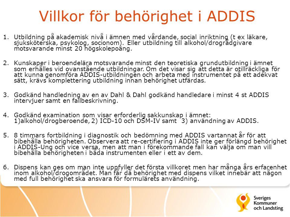 Villkor för behörighet i ADDIS