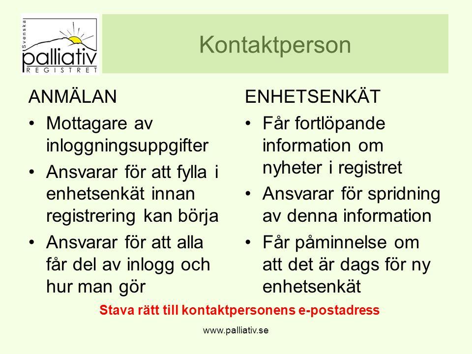 Stava rätt till kontaktpersonens e-postadress