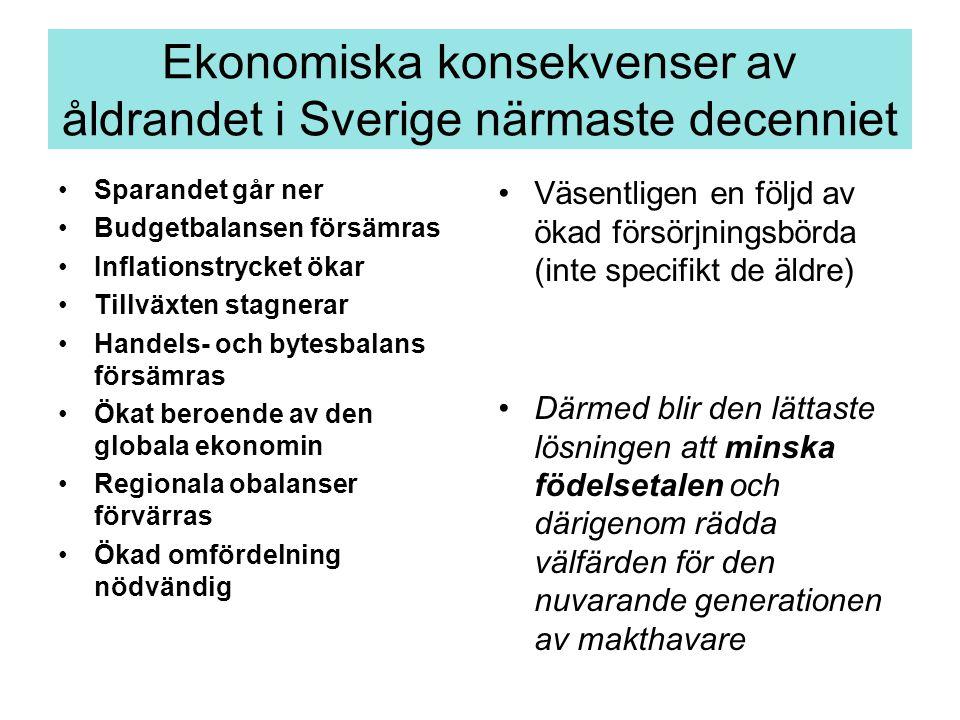 Ekonomiska konsekvenser av åldrandet i Sverige närmaste decenniet