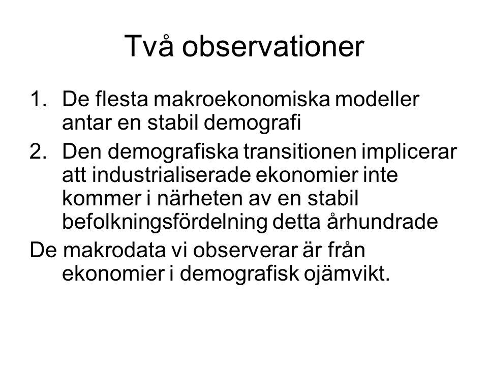 Två observationer De flesta makroekonomiska modeller antar en stabil demografi.