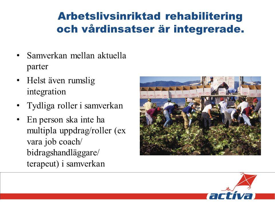 Arbetslivsinriktad rehabilitering och vårdinsatser är integrerade.