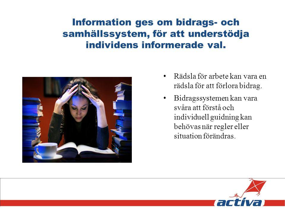 Information ges om bidrags- och samhällssystem, för att understödja individens informerade val.