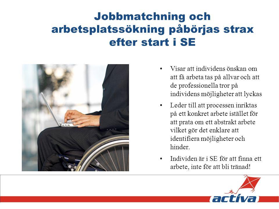 Jobbmatchning och arbetsplatssökning påbörjas strax efter start i SE