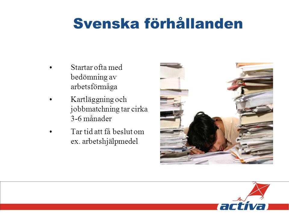 Svenska förhållanden Startar ofta med bedömning av arbetsförmåga