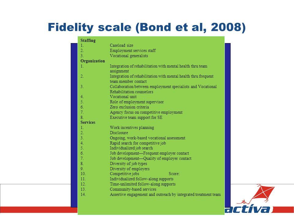 Fidelity scale (Bond et al, 2008)
