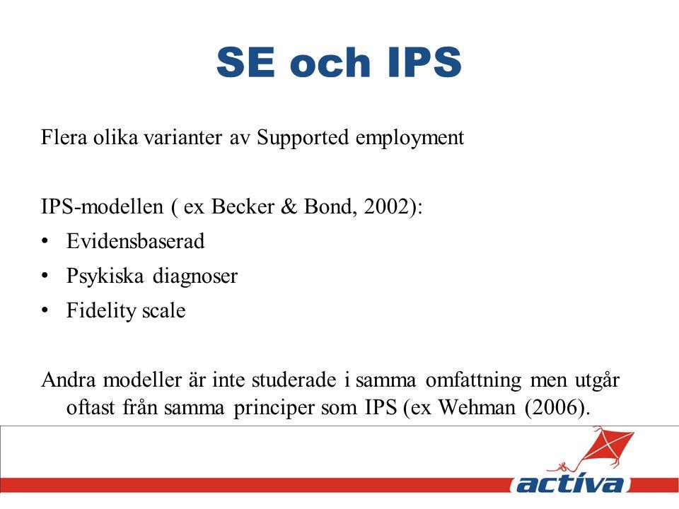 SE och IPS Flera olika varianter av Supported employment