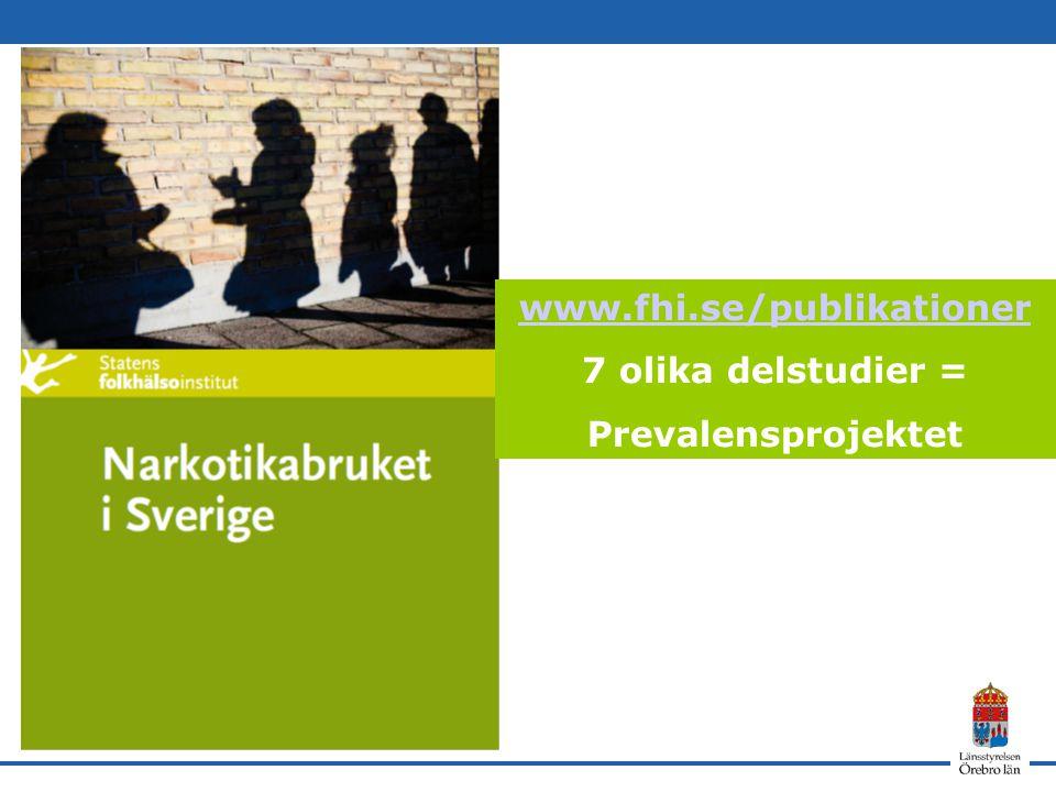 www.fhi.se/publikationer 7 olika delstudier = Prevalensprojektet