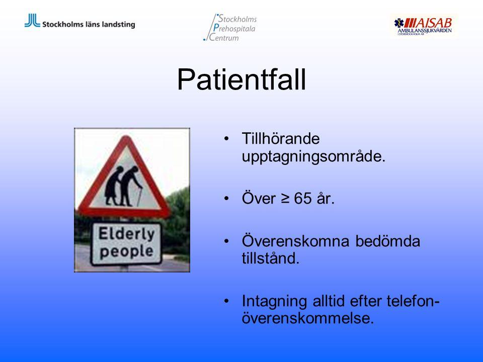 Patientfall Tillhörande upptagningsområde. Över ≥ 65 år.