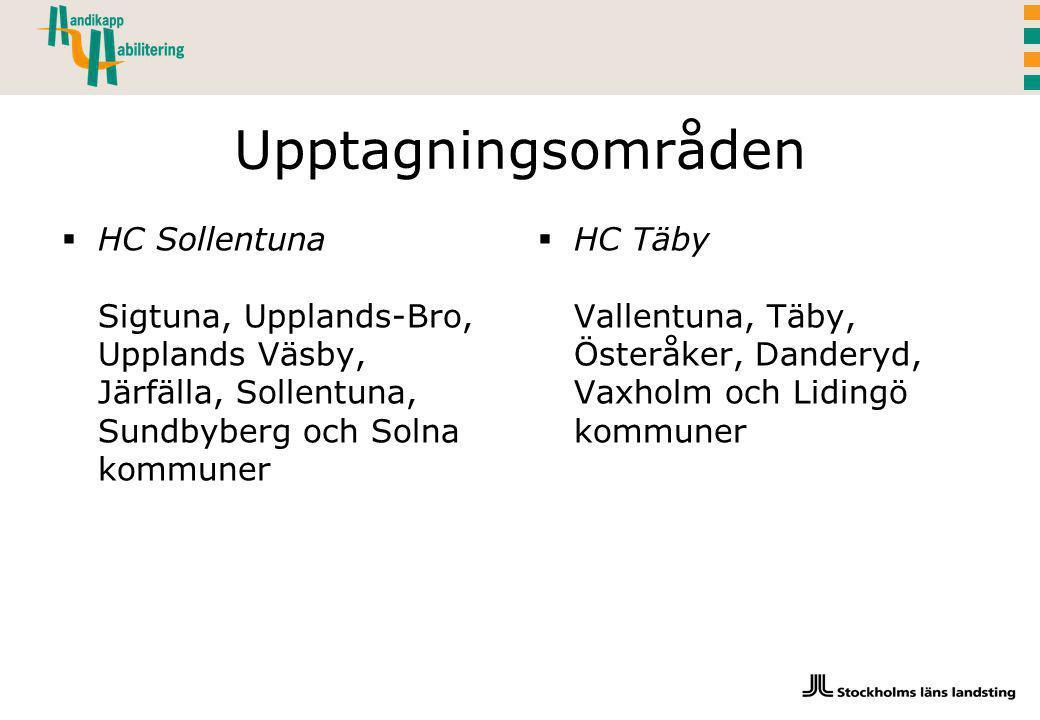 Upptagningsområden HC Sollentuna Sigtuna, Upplands-Bro, Upplands Väsby, Järfälla, Sollentuna, Sundbyberg och Solna kommuner.