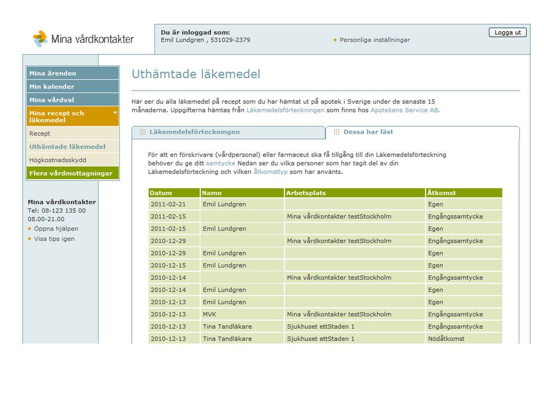Patienter kan nå sin läkemedelsförteckning via Mina Vårdkontakter.