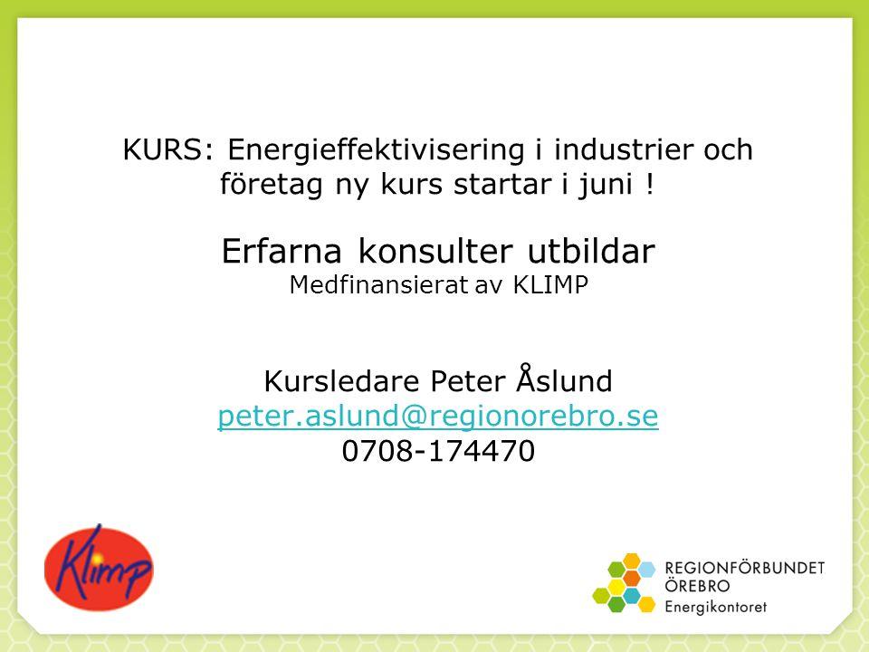 KURS: Energieffektivisering i industrier och företag ny kurs startar i juni .