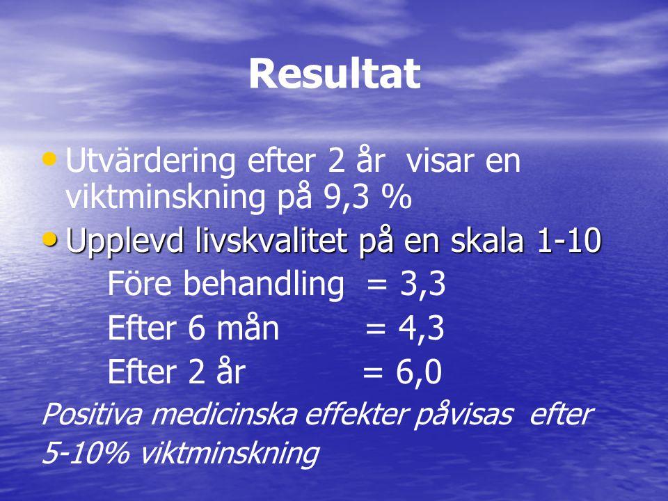 Resultat Utvärdering efter 2 år visar en viktminskning på 9,3 %