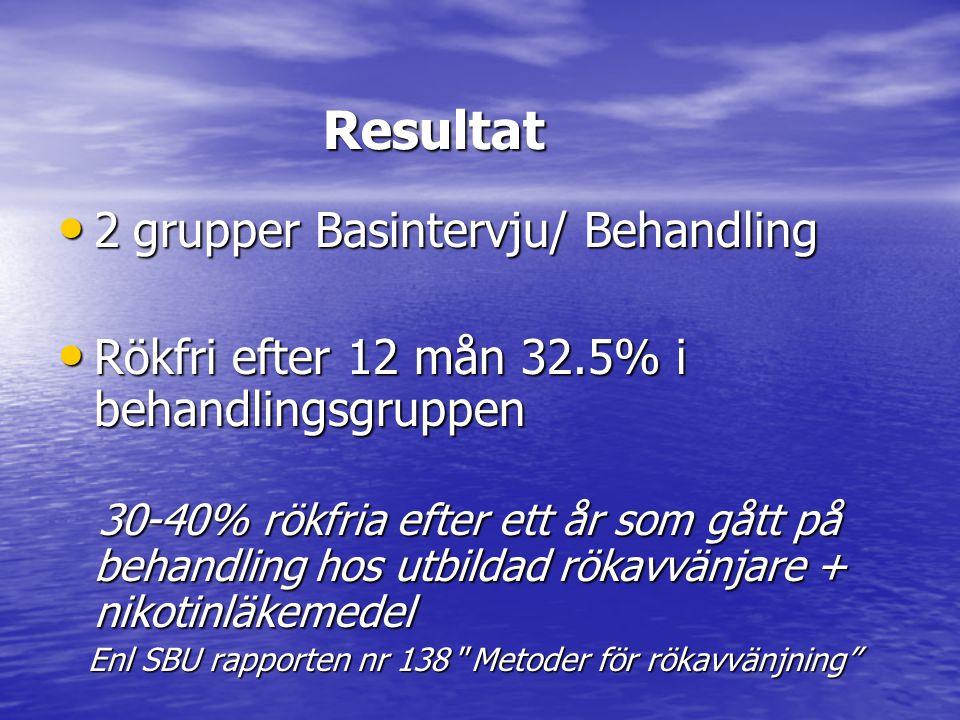 Resultat 2 grupper Basintervju/ Behandling