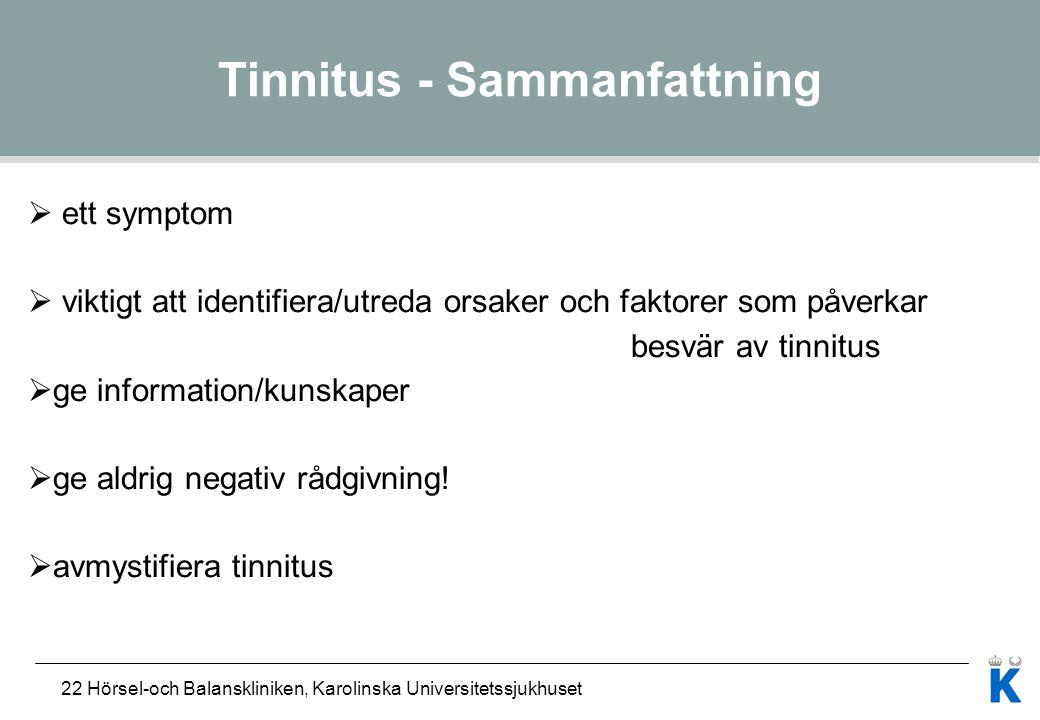 Tinnitus - Sammanfattning
