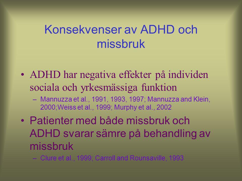 Konsekvenser av ADHD och missbruk