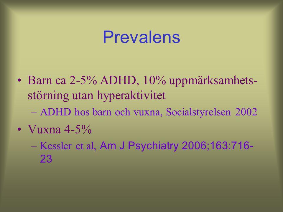Prevalens Barn ca 2-5% ADHD, 10% uppmärksamhets-störning utan hyperaktivitet. ADHD hos barn och vuxna, Socialstyrelsen 2002.