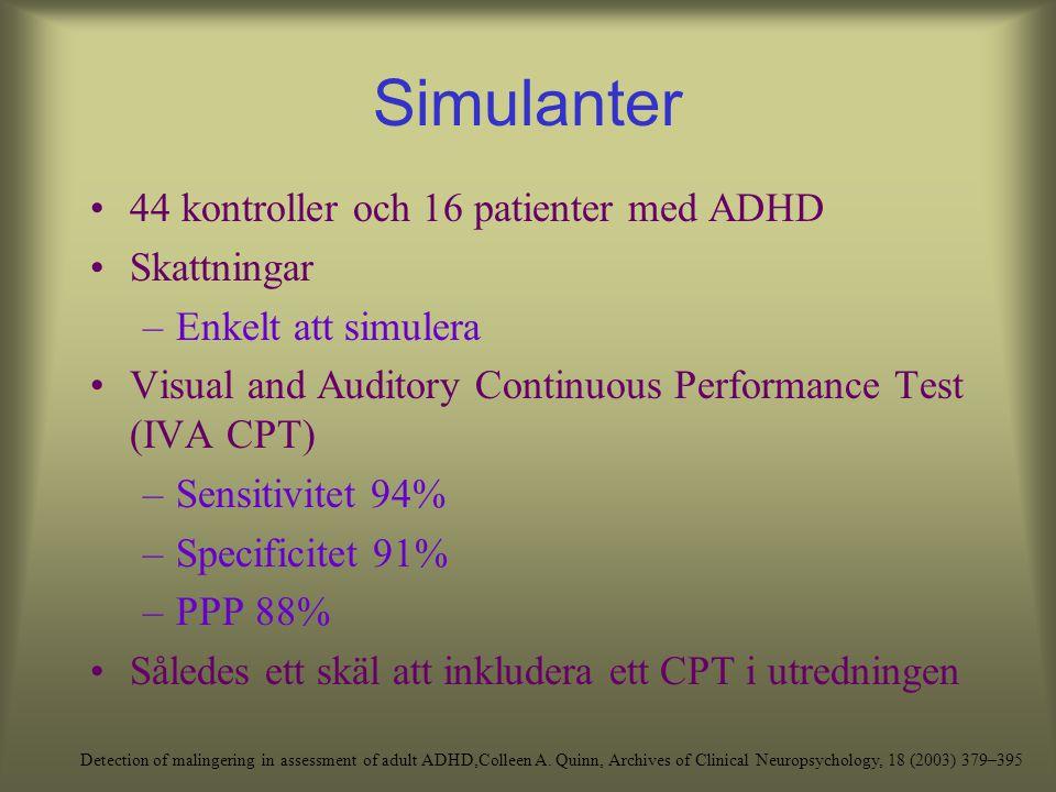 Simulanter 44 kontroller och 16 patienter med ADHD Skattningar