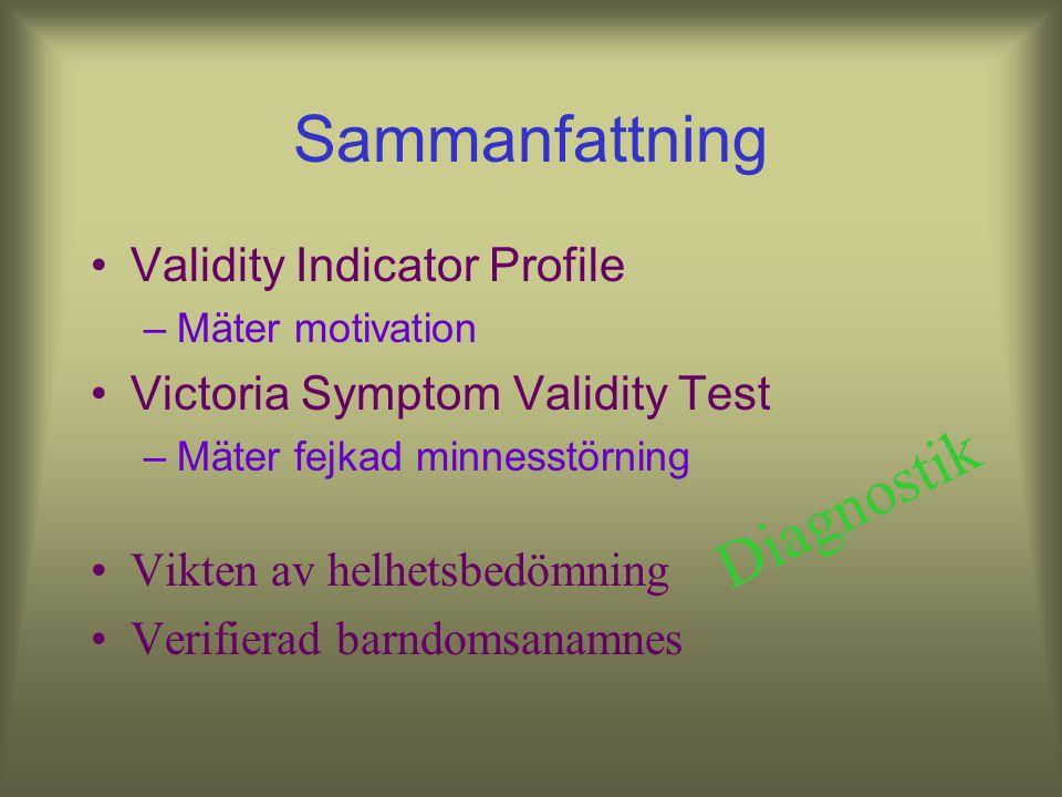 Sammanfattning Diagnostik Validity Indicator Profile