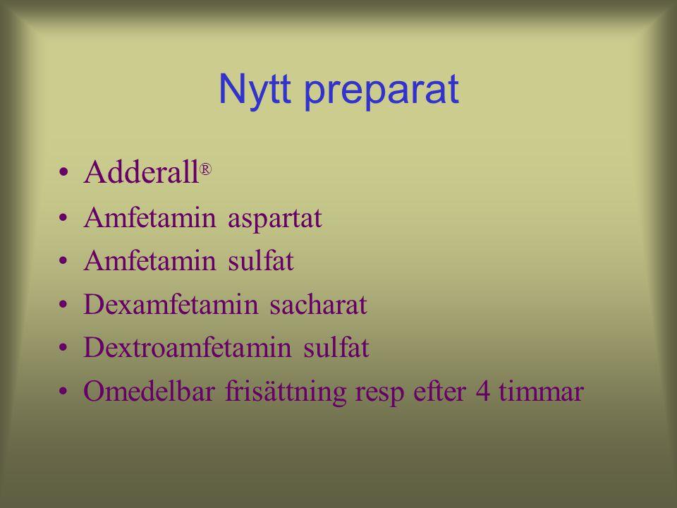Nytt preparat Adderall® Amfetamin aspartat Amfetamin sulfat